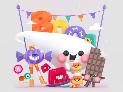 Candy Boo! characters party boo! trickortreat webdesign ghost pumpkin kawai kawaii spooky candy halloween ui dribbble 3d art design colors character illustration 3d