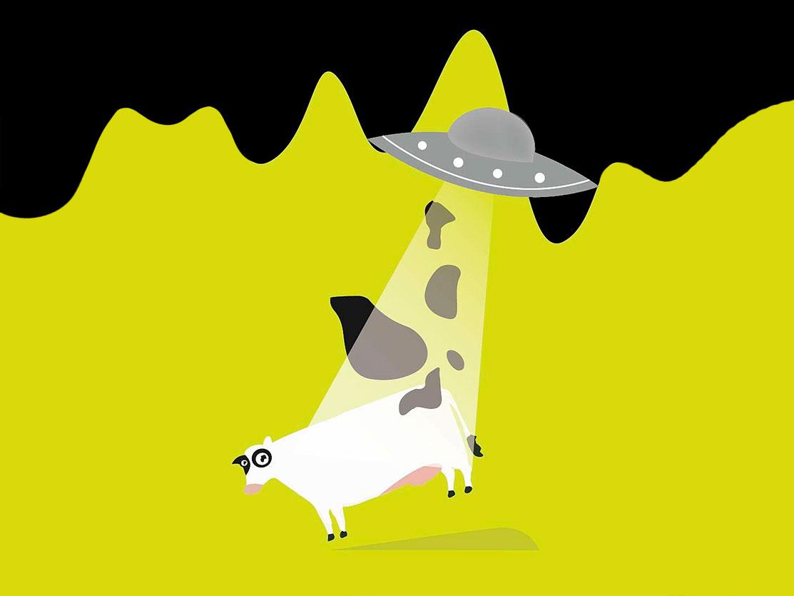 Cow in Action. black green stains flat  design aliens cow minimal branding flat vector design illustration