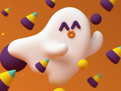 Spooky Season 👻 colors dribbble invite dribbble 3dsmax animation animated render octane 3d terror seasons season spooky candy corn candy halloween flyer halloween party halloween ghost party ghost