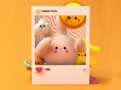 IMAGINARY FRIENDS 😊✌🏼✨ friendly sun texture japanese art amigos dribbble love octane kawaii planets friends friend illustration colors blender3d cinema4d c4d blender characters character
