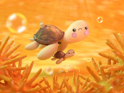 LET'S SAVE LIVES🐢💛🌏 animal dribble ambiente turtle turtles nature lanscape no plastic plastic enviroment character 3d dribbble animation animated illustration characterdesign design characters colors