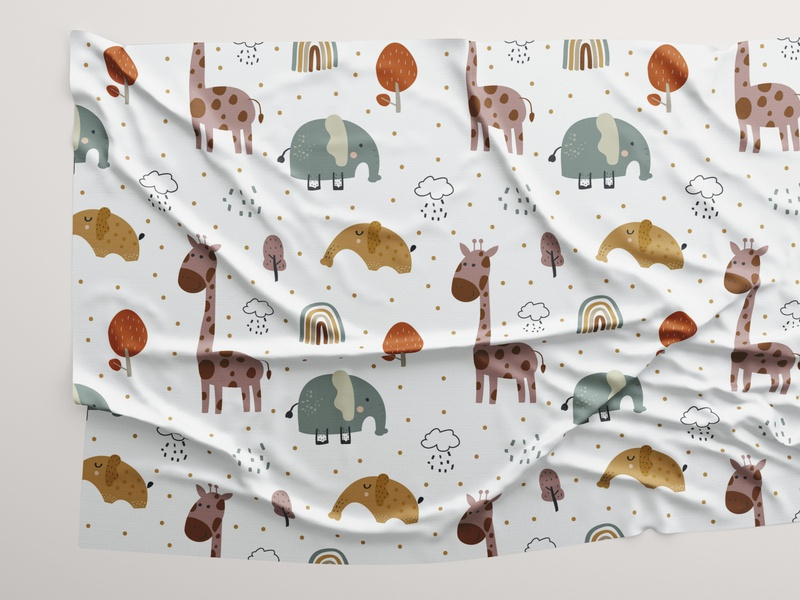 Childish pattern of funny animals woodland adorable baby textile design child seamless pattern print fabric cute animal seamless pattern