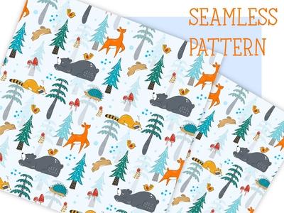 Winter in the woodland seamless pattern hand drawn children child kids baby print fabric cute animal seamless pattern