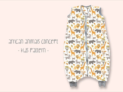 Kids Pattern with african Animals Cocept