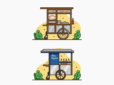 Mie Bakso vs Mie Ayam 😋 vector indonesia flat gerobak food cart illustration