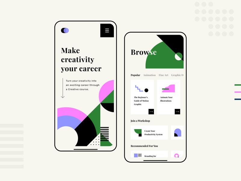 Make creativity your career - Mobile ui design abstract geometric geometry concept mobile design mobile ui branding business ui graphic design design