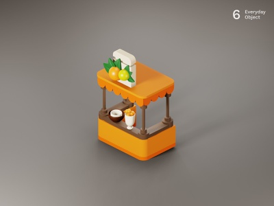 Juice bar | Everyday object fruits orange illustration juice bar 3d