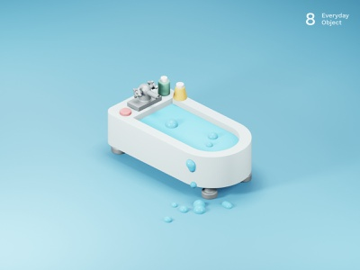 Tub | Everyday object bathroom illustration shower 3d