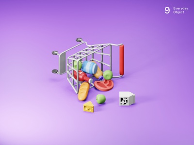 Shopping cart | Everyday object food groceries supermarket illustraion 3d