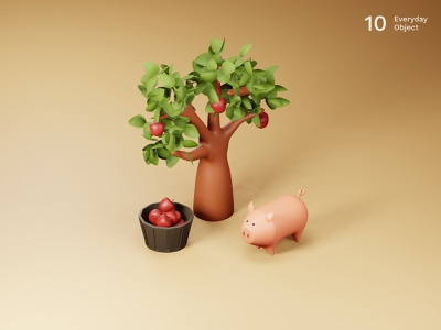 Pig | Everyday object animal illustration apple tree farm 3d