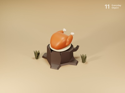 Turkey | Everyday object illustration meat chicken turkey trunk forest 3d
