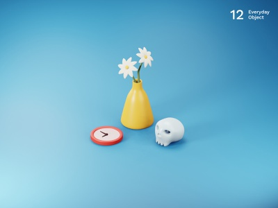 Life | Everyday object skeleton clock flowers vase 3d