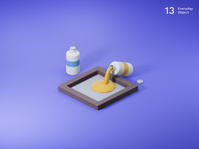 Painting | Everyday object frame colors pigments painting illustration 3d