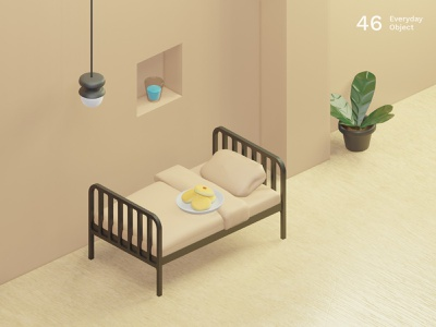 Bedroom | Everyday object colors warm morning breakfast composition bed plant bedroom interior illustration 3d