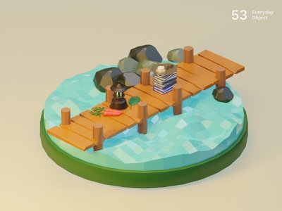 Bridge | Everyday object bridge nature low poly river illustration 3d
