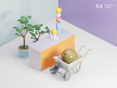 Moon | Everyday object plants colors still life lemon moon composition illustration 3d