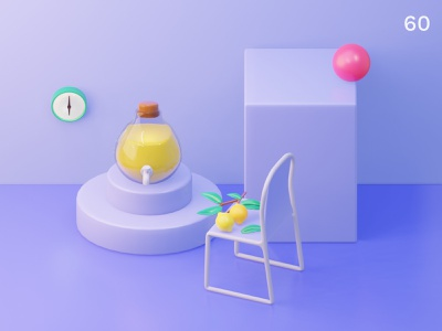 Lemon | Everyday object purple colors 3d scene interior design composition still life clock juice bar illustration 3d