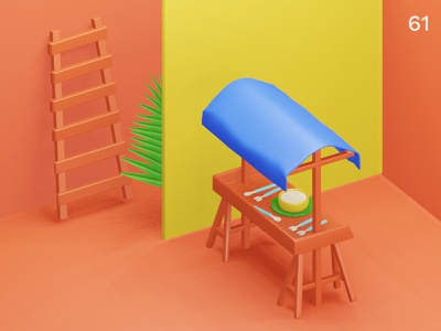 Stall | Everyday object photography interior colors composition illustration 3d