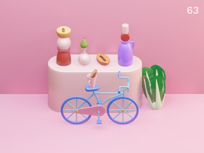 Bicycle | Everyday object vases bottles food styling food photography colors composition illustration 3d