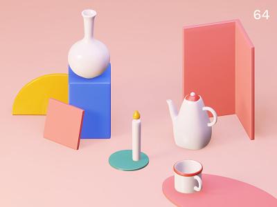 Still life 28 | Everyday object bottles composition still life colors illustration 3d
