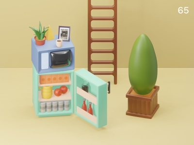 Still life 29 | Everyday object colors composition plants refrigerator tv illustration 3d
