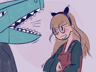 Girl and papier mache dinosaur dinosaur halloween costumes glasses girl illustration