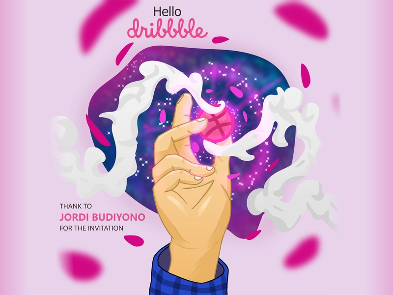 My Drbbbble First Shot vector you thank likes view hand colour draw branding shot first firstshot design invitation hello dribbble always