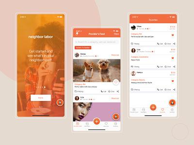 Neighbor Labor App ui services service app mobile app design mobile app labor app