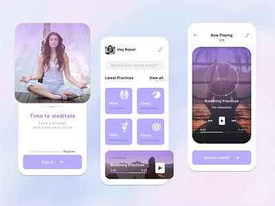 Yoga App- Concept Design home screen app design app ios mobile app design concept design yoga relax clean design lavender meditation app mobile app yoga app ux design uiux