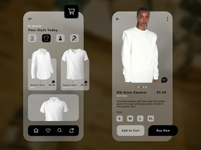 Fashion App mobile app design minimal glassmorphism app design uiux fashion clothes fashion app clothing app fashion design