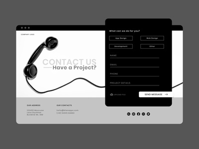 Contact Us black and white web design location phone contact form website concept website design contact us contact us page