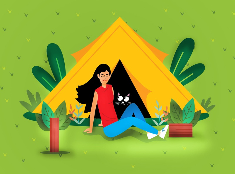 Camping with TUTU cute illustration kids illustration kidlitart kids app design children book illustration childrens book concept art concert camping dribbble cat flat illustration srilanka creative illustration design colombo drawing illustrator