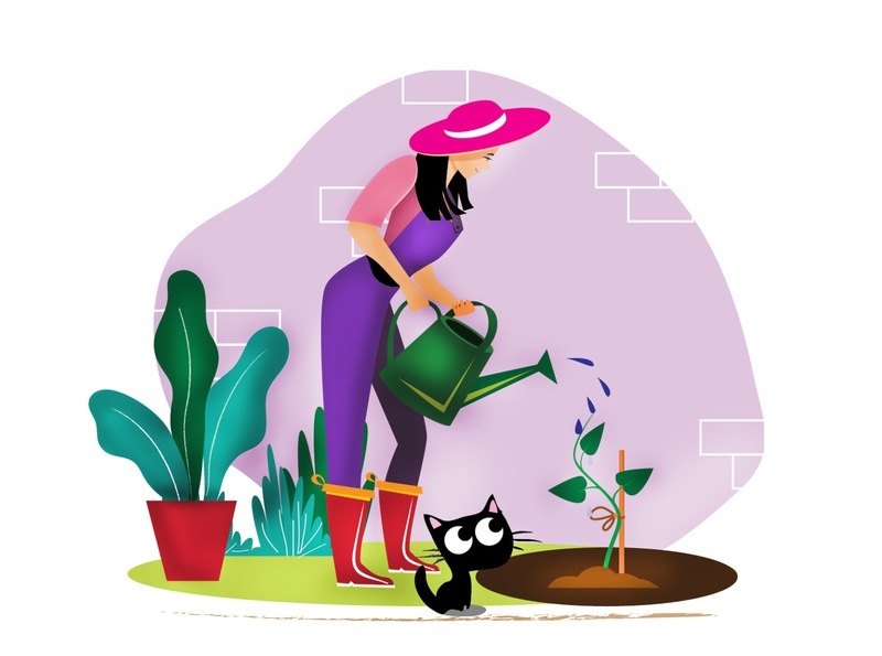Planting with Tutu character design design art artist environment tree planting booklet book cover childrens illustration dribbble cat flat illustration srilanka creative illustration design colombo drawing illustrator