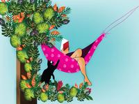 TUTU and Me in the Relaxing Mood.. book cover kidlitart freelancers freelancer graphic child designers artists children book illustration childrens illustration kids illustration sri lanka cat dribbble srilanka illustration colombo flat illustration drawing illustrator