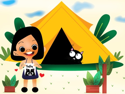 TUTU and the Tent cute illustration girly brand design illustrations magazine illustration magazine artist art direction graphicdesign children book illustration childrens illustration dribbble flat illustration srilanka creative illustration design colombo drawing illustrator