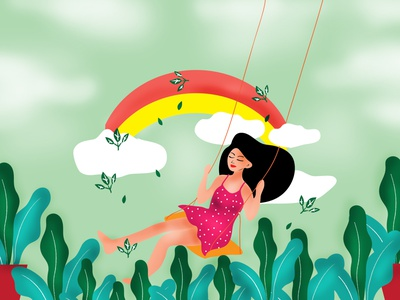 Girl enjoying Nature - Illustrations dribbble cute cute illustration illustrations artist kids illustration children children book illustration girl illustration nature illustration nature art cat flat illustration creative design illustration drawing colombo illustrator