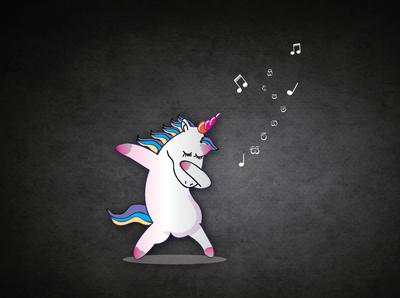 Unicorn Singing - Illustrator Drawing