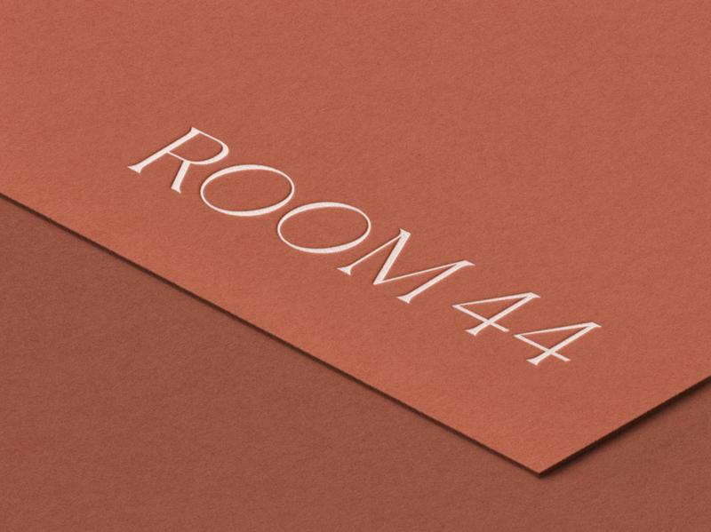 Room 44 branding typographic typography graphic design design stationary visual branding visual identity logo