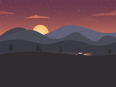 Starry nights. vector flat design illustration