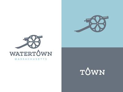 Watertown blues blue brand identity branding typography type graphic design logo design logo cannon drop water community boston massachusetts watertown