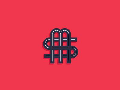 MS Monogram logo icon logo mark graphic  design letters typography type logo design logo overlap curves lines red monogram logo monogram s m