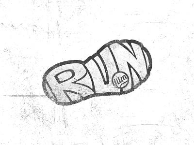 Run film concept logotype symbol visual design logo desing run sneaker foot calligram mark logo