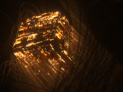 Cube with strands render 3d octane c4d