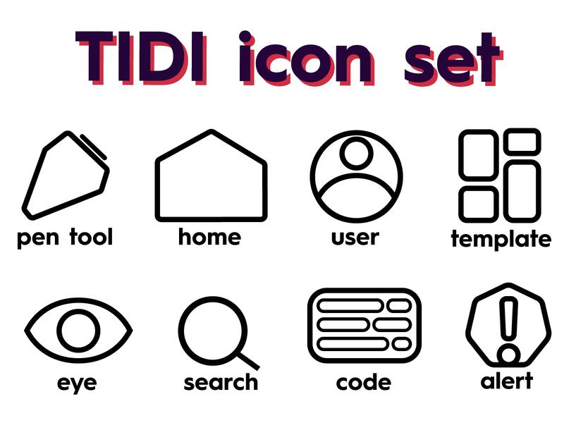 TIDI Icon Set logo black and white branding minimal flat uidesign design icons pack ui adobe illustrator icons design iconset icon icons