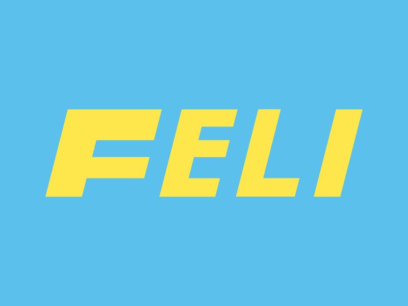 FElI logo typography typo font blue yellow vector minimalist logo logo adobe illustrator branding minimal flat design