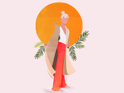 orange vector illustration white fashion circle orange plants illustrator clean vector illustration girl illustration girl flat illustration flatillustration character illustration