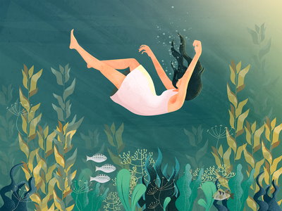 In The Sea flat illustration falling sealife sea girl illustration vector illustration