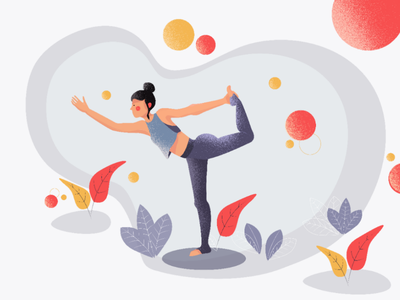 Yoga Girl ui̇ circles clean simple plants character illustration flatillustration i̇llustration yogagirl girl yoga