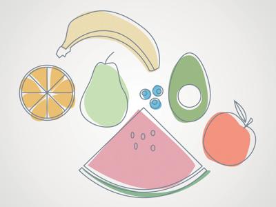 Fruit fruit banana avocado blueberries pear orange apple line-drawing