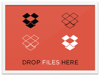Drop Files Here dropbox simple eames frame